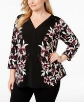 Alfani Womens Ladies Black Floral 3/4 Sleeve Plus Size Printed V-Neck Top 1X