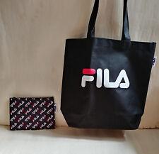 NEW FILA LOGO BLACK Shoulder Tote Bag & Pouch Zipper Set from Japan Magazine