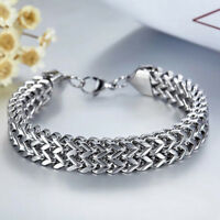 8-12mm Men's Heavy Stainless Steel Wheat Chain Wristband Cuff Bangle Bracelet