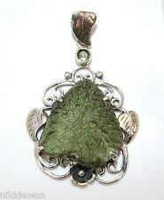 Moldavite with Leaves Design Sterling Silver Pendant Rare Tektite Meteorite