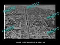 OLD LARGE HISTORIC PHOTO BALLARAT VICTORIA AERIAL VIEW OF THE TOWN c1940