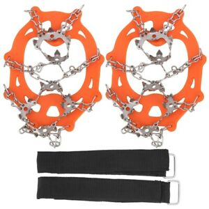 2Pcs Outdoor Crampon 19T Snow Anti Slips Shoes Covers for Ice Climbing Orange