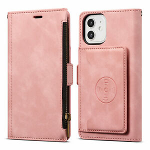 Leather Zipper Crad Holder Wallet Case For iPhone 13 12 Pro Max 11 XR XS 7 8+ SE
