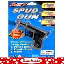 Toy Spud Gun 3 in 1 Shoots Potato Bits Water Plastic Caps Die-cast Metal