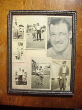 JACK SHARKEY AUTOGRAPH Boxing Exhibit Arcade Card & 6 SNAPSHOT PHOTOS in Frame