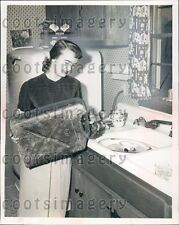 1954 Ohio Woman in Her Kitchen With a Gas Can Press Photo