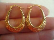 New Hallmarked 9ct Yellow Gold Oval Diamond Cut Creole Hoop Earrings 25mm