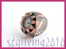 Retro sun fleur cuivre bronze unisexe anneau mini robe quartz doigt watch