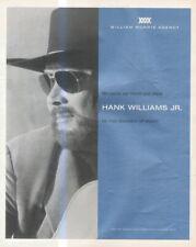 "(HFBK17) POSTER/ADVERT 13X11"" HANK WILLIAMS JR : WILLIAM MORRIS AGENCY"