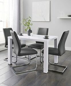 White Glods Table 4 Leather Grey Chairs Dining Kitchen Furniture