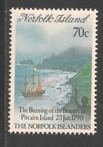 Norfolk Island #469 (A107) VF MNH - 1990 70c The Bounty On Fire / Ships / Boats