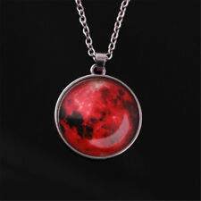 Fashion Glow in The Dark Moon Earth Pattern Round Pendant Necklace Jewelry Gift Red