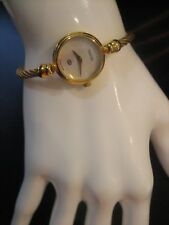 Genuine Gucci 2700L Mother of Pearl Gold Plated Wraparound Bangle Watch