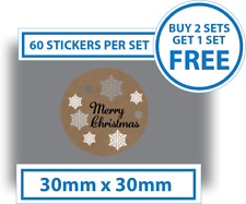 60 x Merry Christmas Stickers Card Decorating Present Seals Labels 30mm x 30mm