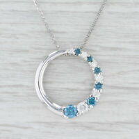 "0.77ctw Blue White Diamond Circle Pendant Necklace 14k White Gold 18"" Box Chain"