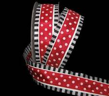 "5 Yards Carnival Red White Polka Dot Black White Stripe Edge Wired Ribbon 1 1/2"""