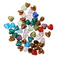 50 X Murano Glass Beads Pendant Heart 12mm D2H8 P7X9