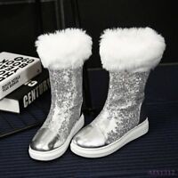 Winter Women Red Shoe Flat Mid-Calf Boot Furry Fur Lining Paillette Bling Casual