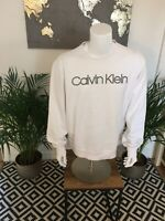Vintage Calvin Klein Spell Out Sweatshirt White Large