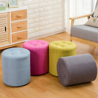 32*35cm Round Footstool Padded Stool Solid Wooden Round-Chair Cushion Seat
