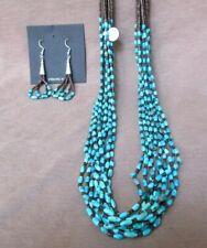 Santo Domingo turquoise & heishi 10 Strand Necklace & Earrings by Coriz  JN344