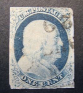 1851 US S#7 1c Franklin, blue, imperforate Used issues Tight Cuts