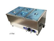 Techtongda 110v 5 Pot Stainless Steel Bain Marie Countertop Food Warmer