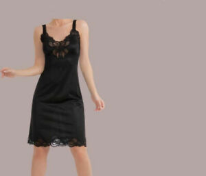 Antistatic adjustable strap lace inset full length slip S-6X choice of 3 colors