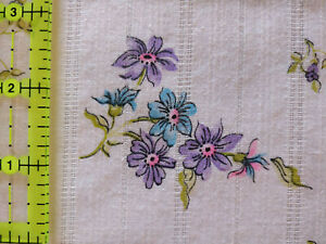 Lot 1328 Fabric, 2 Yards, Floral w/ Woven Stripes, Looks Like Apparel Cotton