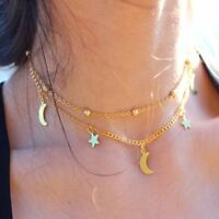 New Woman Gold Silver Jewelry Chain Pendant Moon Star Choker Necklace cn
