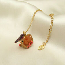 LES NEREIDES Bird Nest Flower Pendant Gold Tone Chain Necklace