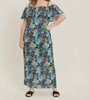 Evans ladies maxi dress plus size 16 18 20 22 24 26 30 32  blue pansy print