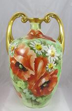 Old Pickard Artist Reury Limoges Hand Painted Orange Poppies&Daisies Urn Vase