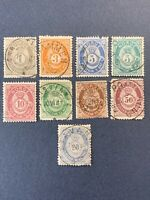 1877-84 Norway , Lot of 9 Stamps