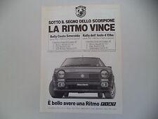 advertising Pubblicità 1982 FIAT RITMO ABARTH