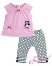 "Pink Panda Shirt & Polka Dot Leggings fit 15"" Baby Girl Bitty Doll"