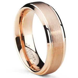 6mm Rose Plated Tungsten Carbide Wedding Band Ring Men's Band