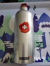 RARE Sigg Wax Stamped Swiss RED Emblem Water Bottle 1-Liter