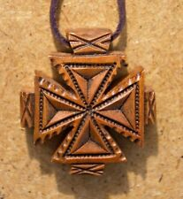 Unique Wooden Hand Carved Neck Small Cross Ethnic Style + Gift Leather Chain