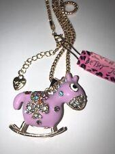 NWT BETSEY JOHNSON  Crystal Rocking Horse Pendant Necklace