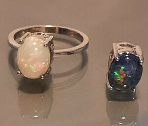 Sz 7 interchangeable Opal solitaire Ring 2.40ctw Rhodium over Sterling Silver