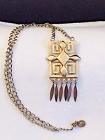 Vintage Long Silver Dangle Necklace; Aztec Design, signed Lisner; 15 in.