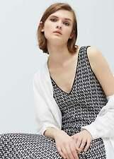 NEW MANGO (ZARA Group) Black - White Jacquard Maxi Dress With Side Slit Size L