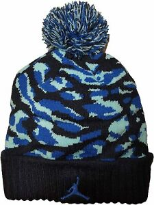 NIKE AIR JORDAN JUMPMAN Youth Knit Cap Camo Pom Beanie Winter Hat Ages 8-20