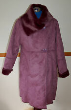NEW Sz S Faux Suede Heavy Thick sheepskin Long Coat Mulberry Purple Plush Lining