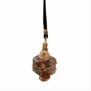 AMAZING AMETHYST COPPER WRAPPED PENDANT 75gr--LOOK--HEALING--PROTECTION--