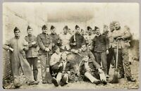 BELGIUM SOLDIERS PLATOON WW1 MILITARY ANTIQUE PHOTO RPPC POSTCARD