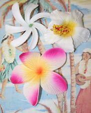 Fleur Frangipanier,Tiare et Hibiscus à pinces pour les cheveux lot Hawaï rétro