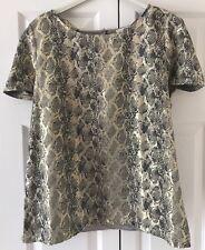 Oasis Metallic Gold Snake Skin Top Size Large VGC !
