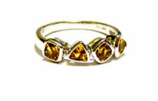14K White Gold Citrine Cushion & Trillion Band Ring, Size 6.5, 0.96(TCW), 2.6GR